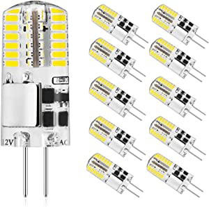 G4 LED Bulb 12V 3W Bi-Pin Light Bulbs Replacement 20W 30W JC Halogen Bulb for Landscape,Under Cabinet Home Lighting,No Flicker,Non-dimmable,White 6000k Pack of 10