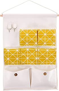 Shiaon Hanging Storage Pockets Linen Cotton Fabric Wall Door Closet Storage Bag Case 7 Pockets with 2 Hooks Home Kitchen Organize (Yellow)