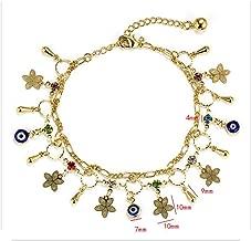 Flower Charms Anklets Tassel Evil Eye Barefoot Crochet Sandals Foot Jewelry Bracelets For Women Leg Chain