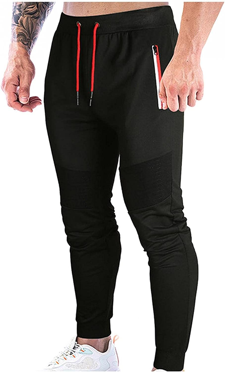 Men's Lightweight Jogger Sweatpants Athletic Workout Running Pants Tapered Track for Men with Zipper Pockets