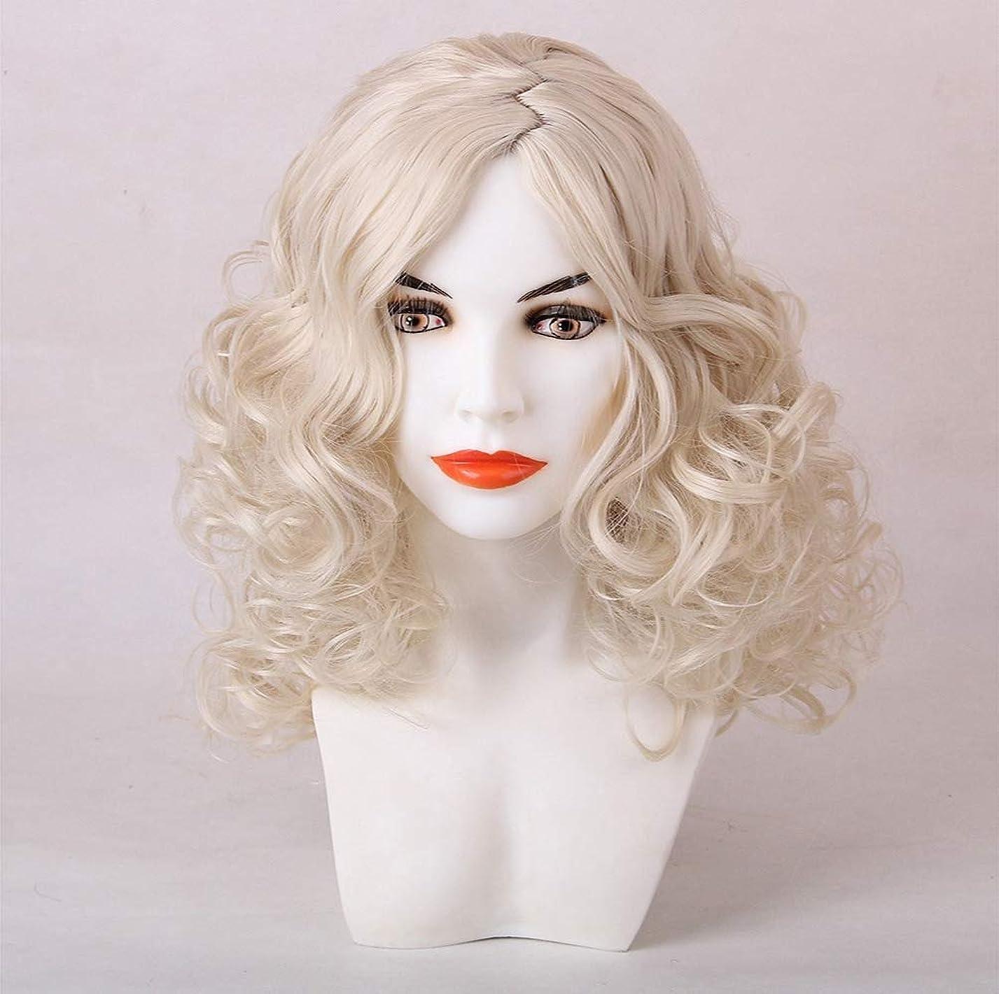 ドラフト遊び場採用する女性かつら合成ブラジルのremy毛プレ摘み取ら漂白ノットライトゴールド50センチ