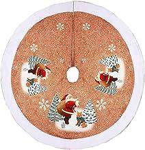 Christmas Tree Skirt Santa Pattern Tree Skirt Xmas Tree Skirt Home Decorations Seasonal Décor (Color : Beige, Size : 98 * ...