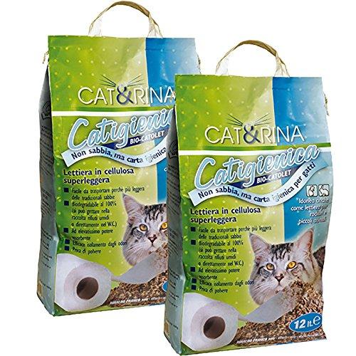 CAT&RINA (2 pacchi da 12 litri) Catigienica, lettiera per gatti in carta. Idonea anche per gli animali più piccoli. Biodegradabile (si può gettare nella raccolta rifiuti umidi o direttamente nel W.C.)