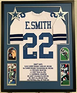 Autographed Emmitt Smith Signed Custom Framed Dallas Cowboys Stat Jersey 1 - Beckett Certified