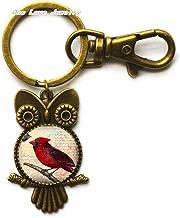 Cardinal Key Ring,Owl Keychain or Key Chain-Cardinal Owl Keychain,Memorial Owl Keychain,Loved Ones,TAP343