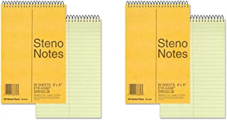 National Brand Brown Board Cover Steno Notebook, Gregg, Green Paper, 6 x 9 Inches, 60 Sheets (36646), 2 Packs