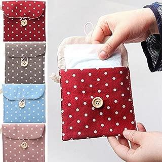 Tampon Bag - Woman Portable Hygiene Sanitary Napkin Travel Tampon Bag Lovely Polka Dot - Cup Tea Purse Jaunt Handbag Journey Bagful Pocketbook Locomotion Udder Locomote Dish Change - 1PCs