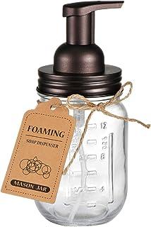 Amolliar Mason Jar Foaming Soap Dispenser - Rustproof Stainless Steel Lid/BPA Free Foam Pump,with Chalkboard Labels - Rustic Farmhouse Decor Hand Soap Dispenser Bathroom Accessories – Bronze (1 Pack)