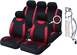 XtremeAuto  Universal Fit Carnaby Full Set Red Black Car Seat Covers Type Styling Sticker