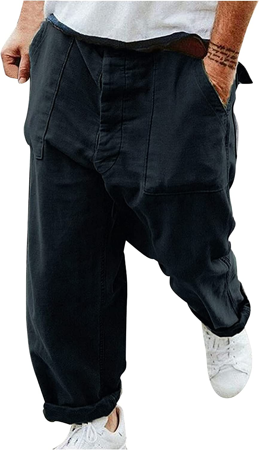 PHSHY Men's Cotton Linen Pants Casual Loose Elastic Waist Outdoor Hiking Cargo Jogging Sweatpants Big and Tall M-XXL