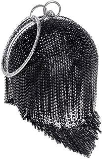 Vioaplem Women's Fashion Sparkly Tassel Round Mini Clutch Bag Wristlet Evening Handbag Catching Purse Bag for Wedding Party (Color : Black)