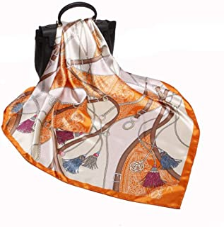 9090cm Hijab Head Scarf Women Leopard Chain Print Square Scarves Spring Autumn Silk Scarves Printed Shawls
