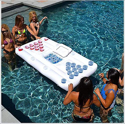 QYHSS Inflatable Air Mattress Bed, Beer Pong Game, Pool Party Float Game, Inflatable Beer Pong Pool with 28 Cup Holes, Ice Bucket Beer Table Float Lounge Raft for Adults Party, 180 x 80 cm