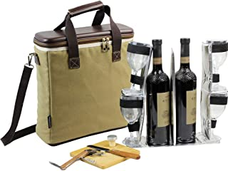 HappyPicnic 3 Bottle Heavy Duty Wine Cooler Bag, Insulated Wine Carrier Tote, Wine & Cheese Set with 4 Glasses - Wine Opener, Stopper, Bamboo Cheese Board and Knife