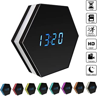 Spy Hidden Camera, ZDMYING HD 1080P Clock Alarm WiFi Mini Cam with Remote View, Night Vision/Ultra Wide-Angle Lens/Motion Detection/Loop Recording, Multi-Function Security Nanny Camera