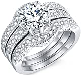 MABELLA Jewelry 2.50 Cttw Halo Round White Cubic Zirconia 925 Solid Sterling Silver Trio Classic Engagement Wedding Band Ring Sets Gifts for Women Size 8