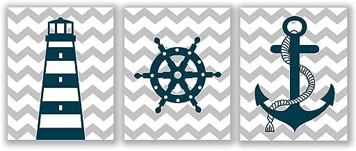 "Homdeco Blue Nautical Art Print Set of 3 (8""X10"") Lighthouse Steering Wheel Anchor Navigation Print for Baby Boy, Nautical Themed Canvas Wall Art, No Frame"