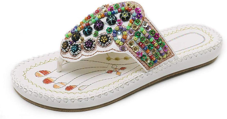 MEIZOKEN Woherrar Stringaa Bead Flip Flops Handgjorda Handgjorda Handgjorda Quality PU Soft Slippers National Style Casual Elegant Sandals  online shopping och modebutik