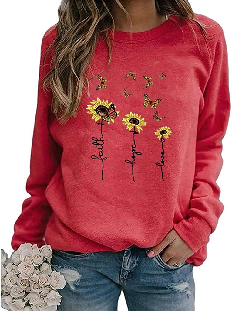POLLYANNA KEONG Sweatshirts for Women,Womens Vintage Sweatshirt Casual Long Sleeve Pullover Tops Shirt Tunic Blouses