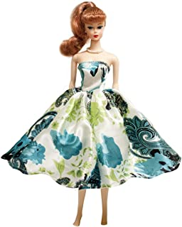 Peregrine Blue & Green Damask Pattern Print Silk Prom Dress for 11.5 inches Dolls