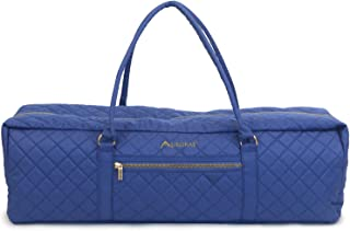 Aurorae Yoga Mat Duffel Bag Extra Large XL Solid Quilted Canvas with Embroidery, Outside Pocket with Secure Zipper Closure