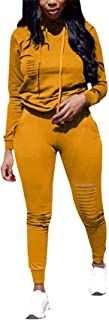 Women's 2 Piece Athletic Outfits Long Sleeve Ripped Pullover Hoodie - Bodycon Joggers Pants Sets
