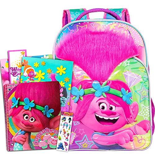 Trolls School Supplies Value Pack -- Deluxe 16' Trolls Backpack with Folders, Notebook, Stickers, and Door Hanger