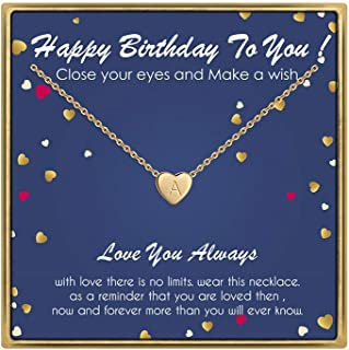 Birthday Gifts for Women Initial Necklace - 14K Gold Filled Initial Necklaces for Teen Girls Birthday Necklace Tiny Heart Letter Necklace Birthday Gifts for Women Kids Child Happy Birthday Gifts
