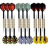 18 Packs of Steel Tip Darts Set Slim Barrel with PVC Dart Flights and Nylon Shafts