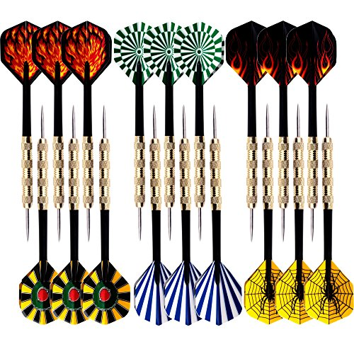 MAXMAU 18 Packs of Steel Tip Darts Set Slim Barrel with PVC Dart Flights and Nylon Shafts