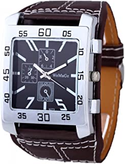 HACBIWA Unisex Men Strong Style No Number 3 Eyes Stiching Band Square Wrist Watch Brown