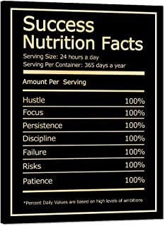 """Inspirational Wall Art Success Nutrition Facts Motivational Painting Prints on Canvas Modern Inspiring Entrepreneur Quotes Motivation Inspiration Posters Artwork Decorations for Office (18""""Wx24""""H)"""