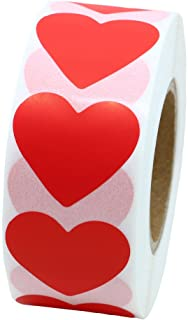 Hybsk Red Heart Stickers Valentine's Day Crafting Scrapbooking 30mm Adhesive Label 1,000 Per Roll (1 Roll)