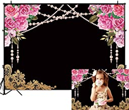 Funnytree 7x5FT Flower Pearl Chalkboard Photography Backdrop for Tea Party Wedding Birthday Party Decoration Gold Lace Background Photo Booth
