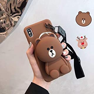 Twinlight Cute 3D Cartoon Cony Sally Bear Rabbit Chicken Phone Case for iPhone 7 8 Plus X XS XR XS max Soft Silicone Cover (Brown, for iPhone Xs Max)
