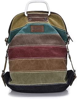 Women's Handbag Large Capacity Color Strip Stitching Shoulder Canvas Backpack