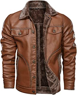wuliLINL Men's Button Down Pocket Lightweight Turn-Down Collar Classic Faux Leather Jacket with Faux Fur Lined