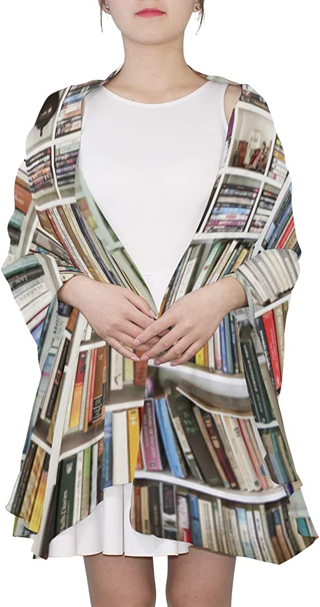 Books In Library Bookcase Unique Fashion Scarf For Women Lightweight Fashion Fall Winter Print Scarves Shawl Wraps Gifts For Early Spring