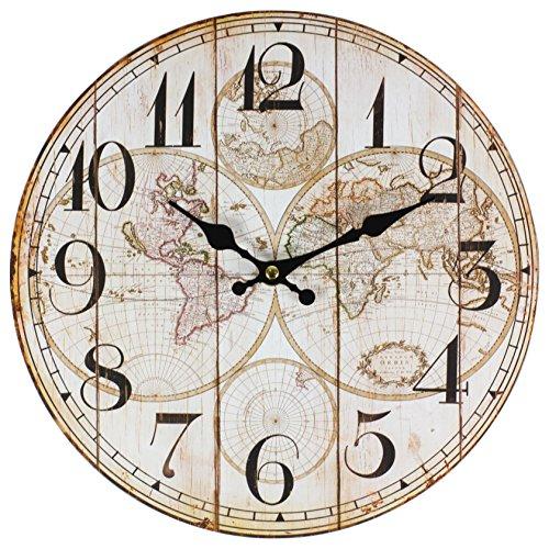 Horloge murale perla pd design - Pour la cuisine - Avec motif vintage - Diamètre approximatif : 28 cm, Bois, Motif carte du monde