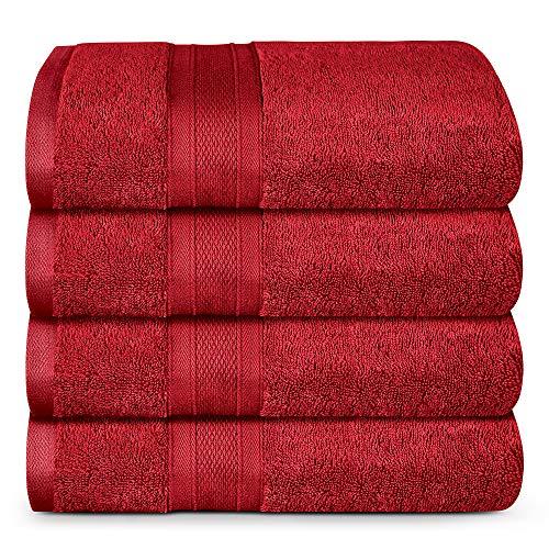 TRIDENT Bath Towel, 4 Piece Bathroom Towel, 100% Cotton, Highly Absorbent, Super Soft, Soft and Plush, 500 GSM (Crimson)