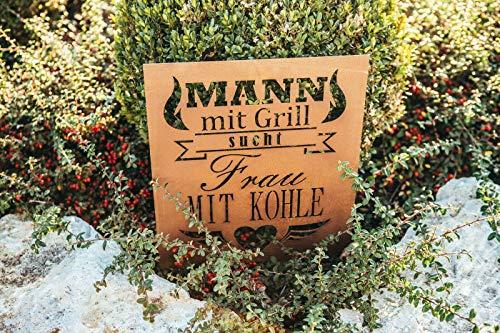 Ferrum Art spruchschild edelrost Mann mit Grill wandtafel metallschild gartenschild tafel - Maße: 36 x 36cm - Exklusive Handarbeit