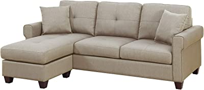 Bobkona Sectional Sofa Beige