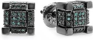 0.25 Carat (ctw) Black Rhodium Plated Mens Hip Hop Cube Stud Earrings 1/4 CT, Sterling Silver