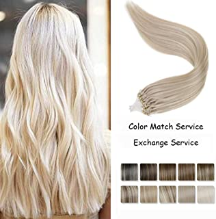 LaaVoo 14 Inch Micro Loop Ring 100% Remy Human Hair Extensions in Solid Color Light Blonde Micro Links Remy Human Hair Cold Fusion Hair Extensions for Women 1g/s 50g/pack