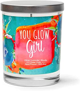 You Glow Girl   Citrus, Lavender, Woody   Luxury Scented Soy Candles  10 Oz. Jar Candle   Decorative Aromatherapy   Boss Lady Gifts   Best Boss Gifts for Women   New Job Gifts for Women   Boss Babe