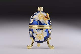 Keren Kopal Blue Bee on Flower Faberge Egg Trinket Box Russian Egg Decorated with Swarovski Crystals Collectors Easter Egg
