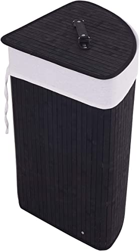 new arrival Giantex Bamboo Laundry discount Hamper Corner Storage Bag with online sale Lid sale