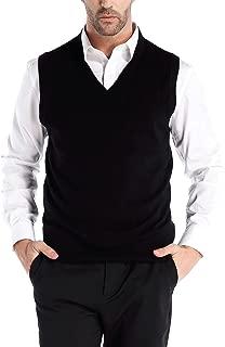 Men's Cashmere Wool Blend Relax Fit Vest Knit V-Neck Sweater