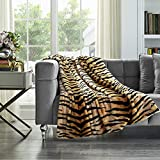 Cozy Tyme Soft Tiger Blanket - Faux Fur Throw Blanket for Bed Reverse Solid Sherpa 50' x 60'