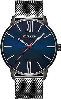 Curren Men Watches Top Brand Ultra thin Dial Luxury Quartz Men Watch Waterproof Casual Sport (BLACK BLUE)